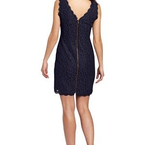 • Adrianna Papell navy lace sheath cocktail dress•